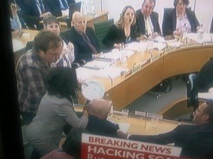 Man Throws Pie at Rupert Murdoch at Parliament; Wife Wendy Attacks!