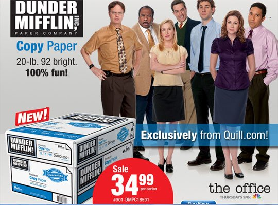 Real-Life Dunder Mifflin Paper for Sale: Comcast and Staples Make Mockumentary History