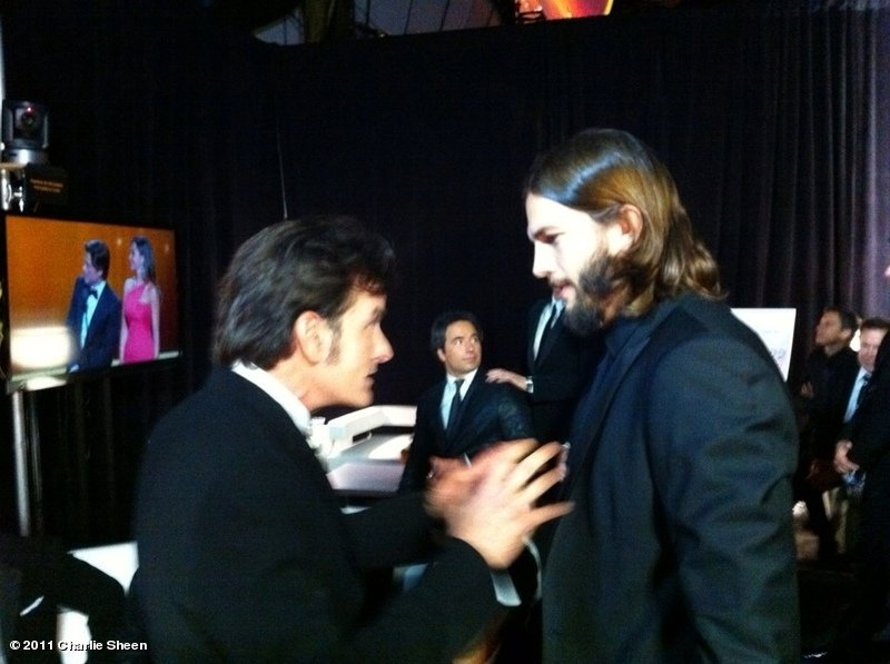Charlie Sheen Gives Ashton Kutcher His Seal Of Approval At Emmys