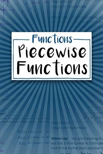 Functions: Piecewise Functions